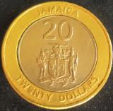 Moneda exotica - bimetal 20 DOLARI - JAMAICA, anul 2000 *cod 2315, America de Nord