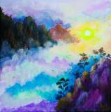 Tablou / pictura 40x40 cm munti / natura / rasarit / padure / peisaj / vara, Acrilic, Altul