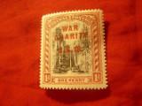 Serie 1 valoare Bahamas  Colonie britanica1919 supratipar War Charity.. val.1p, Nestampilat