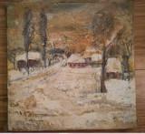 Cumpara ieftin Tablou peisaj iarnă, ulei pe panza, lucrat în cutit, 33x33 semnat Geta MERMEZE, Peisaje, Realism