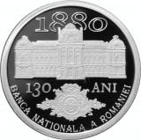 Moneda Romania 10 Lei 2010 - KM#262 Proof ( 130 ani B.N.R. - argint , in cutie )