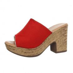 Papuci trendy, rosii, cu platforma, 37 - 40, Rosu