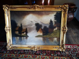 Tablou peisaj cu munte si lac Szepesi Kuszka Jeno, Peisaje, Ulei, Impresionism