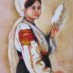 Tablou / Pictura portret de fata semnat Cimpoesu, Portrete, Ulei, Realism
