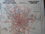 Harta Bucuresti,90x90 cm, schema arterelor de circulatie,litografie, caserata