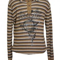Pulover trendy, nuanta de maro-bej, cu design dungat chic