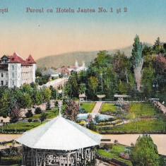 Carte postala Calimanesti Parcul cu Hotelu Jantea No 1 si 2