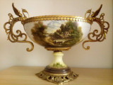Jardiniera/ Centru de masa vechi, Francez, din portelan si bronz