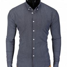 Camasa pentru barbati, gri, cu guler, slim fit, elastica, bumbac - K392