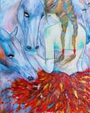 """Cumpara ieftin Tablou pictura cai """"Balerina"""", Animale, Acrilic, Altul"""