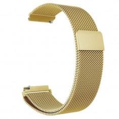 Curea metalica compatibila Huawei Watch GT, Milanese Loop, telescoape Quick Release, 22mm, Auriu