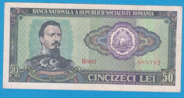 (4) BANCNOTA ROMANIA - 50 LEI 1966 RSR, PORTRET A.I. CUZA, STARE BUNA