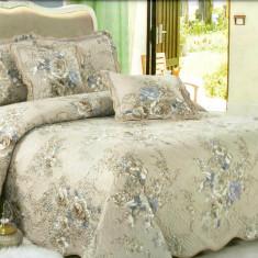 Cuvertura de pat + 4 Fete de Perna - Pat 2 Persoane - 100% Bumbac - E-S17