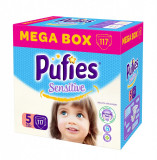 Scutece Pufies Sensitive Mega Box Junior 5, 117 buc, 11-20 kg