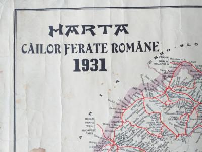 HARTA CAILOR FERATE ROMANE 1931/ ROMANIA MARE foto