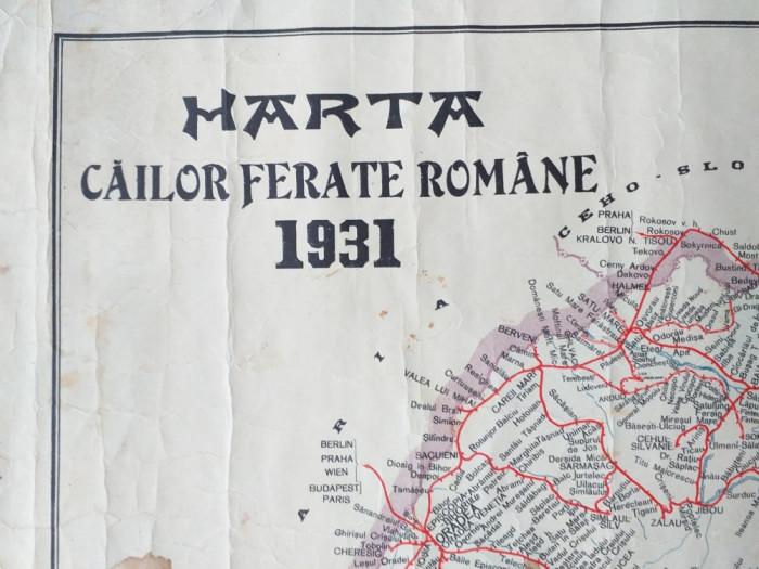 HARTA CAILOR FERATE ROMANE 1931/ ROMANIA MARE