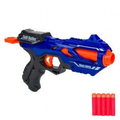 Arma de jucarie pentru copii, model lansator tip blazer cu 5 gloante moi, 29×14 cm