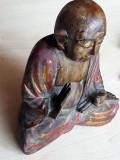 BUDA - Statueta veche sculptura in lemn - Buda meditatie