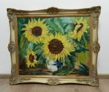 Tablou mare / pictura ulei panza semnata D. Schubert FLOAREA - SOARELUI