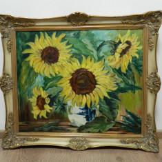Tablou mare / pictura ulei panza semnata D. Schubert FLOAREA - SOARELUI, Flori, Impresionism