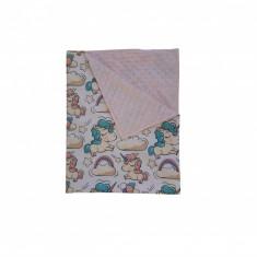 Ingrid's Fabrics Paturica bebelusi Minky - Unicorni Alb - Roz 75x95cm