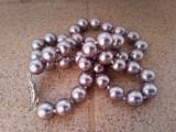 Colier perle sea shell gri otel