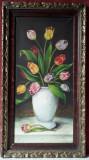Vaza cu lalele multicolore, pictura veche ulei pe panza, necesita restaurare, Flori, Realism