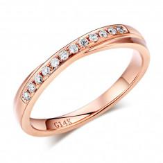 Inelul Borealy Aur Roz 14 K Natural Diamonds Women s Style Twisted Band