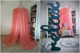 Cumpara ieftin Baldachin de tavan roz prafuit cu roz cu stele, 75 cm
