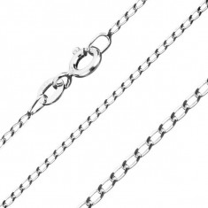 Lanţ din argint 925 - zale netede, alungite, lăţime 1 mm, lungime 455 mm