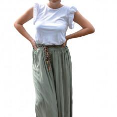 Pantaloni Adeline, croi evazat si elastic in talie, nuanta de verde deschis