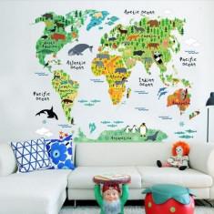 Sticker educativ pentru copii Harta lumii pentru copii
