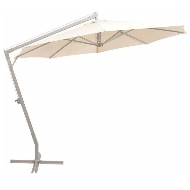 Umbrelă de soare suspendată 350 cm, nisipiu, stâlp de aluminiu
