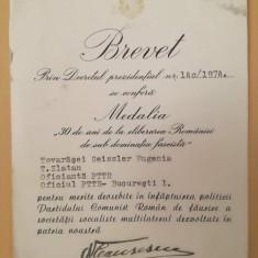 Brevet Eliberarea României, semnat Ceaușescu, ptr Eugenia Geissler, 1974