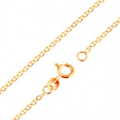 Lanț din aur de 9K - zale mici lucioase, plate, despărțite de un pivot, 500 mm