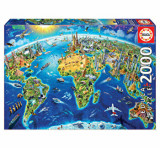 Cumpara ieftin Puzzle World Landmarks Globe, 2000 piese, Educa
