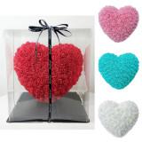 Inima din trandafiri ROZ 30 Cm in cutie transparenta