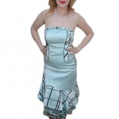 Rochie rafinata cu aspect de costum, nuanta albastru cu negru