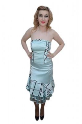 Rochie rafinata cu aspect de costum, nuanta albastru cu negru foto