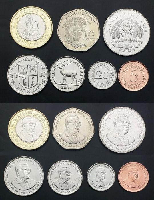 MAURITIUS █ SET COMPLET DE MONEDE █ 5+20 Cents +1/2+1+5+10+20 Rupees █ 2000- UNC