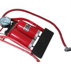 Pompa aer auto Automax de picior dubla cu 2 cilindri si manometru , 7 bar 100psi, AutoMax Polonia