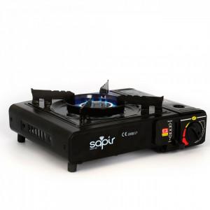 Plita GPL SAPIR SP 1445 TGB, 2,1 kW, Supapa dubla , protectie la suprapresiune, cutie, negru, Flacon GPL