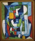 Cumpara ieftin Tablou vechi abstract în rama nou-nouta, ulei pe panza, mare, 60x50 doar panza, Cubism