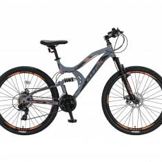 """Bicicleta MTB Full Suspensie UMIT Kratos 2D , culoare gri/portocaliu ,roata 26"""" PB Cod:2655100000, Discuri"""
