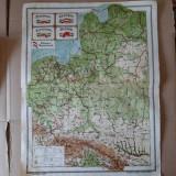 Harta veche Polonia, Letonia, Lituania, Danzig, Prusia Orientaia (atlas 1924)