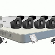 Kit Supraveghere HIKVISION DS 7104HGHI F1 4 Camere DS 2CE16C0T IT3F TURBO HD HIKVISION 1 Mp IR 40M HDD 500 GB