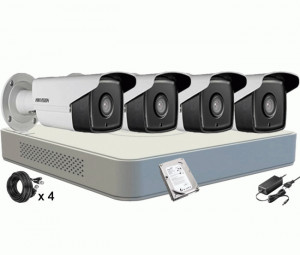 Kit Supraveghere HIKVISION DS-7104HGHI-F1, 4 Camere DS-2CE16C0T-IT3F TURBO HD HIKVISION 1 Mp, IR 40M, HDD 500 GB