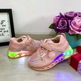 Cumpara ieftin Adidasi colorati roz cu lumini LED beculete si scai pt fetite 22, Fete, 24