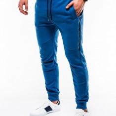 Pantaloni barbati, de trening, albastru, slim fit, sport, street, model nou - P743