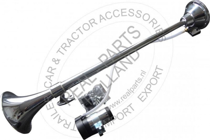 Claxon auto BestAutoVest 640mm 12V 200 Hz, cu compresor aer, tip goarna, crom